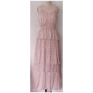 H&M IVORY RED BLACK TIERED RUFFLED MAXI DRESS 10